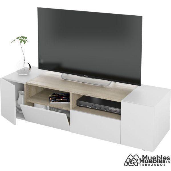 mueble tv madera y blanco 130 cm 0f6624a