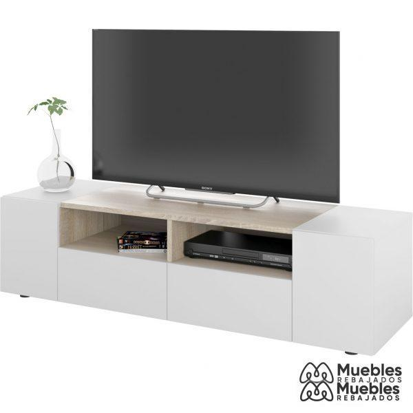 mueble tv madera y blanco barato 0f6624a