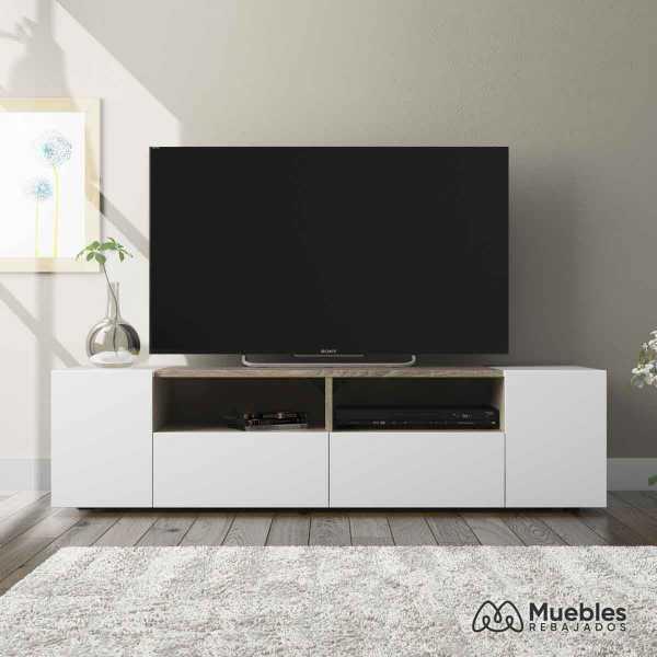 mueble tv madera y blanco con puertas 0f6624a