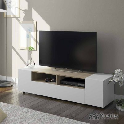 mueble tv madera y blanco roble 0f6624a