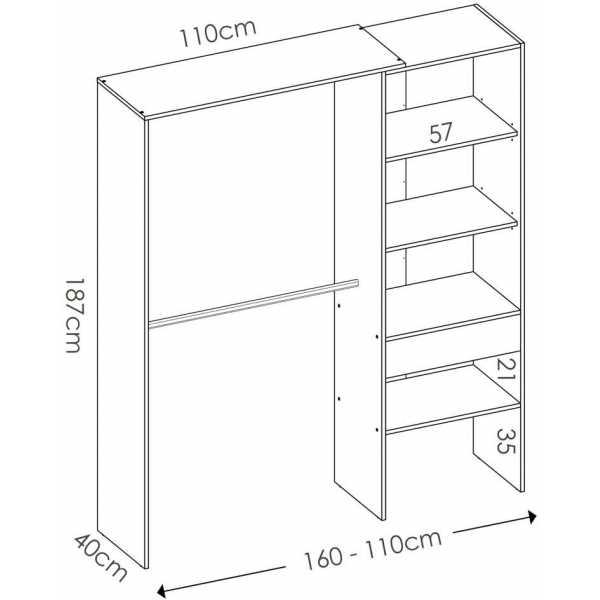 mueble vestidor con 1 cajon 2
