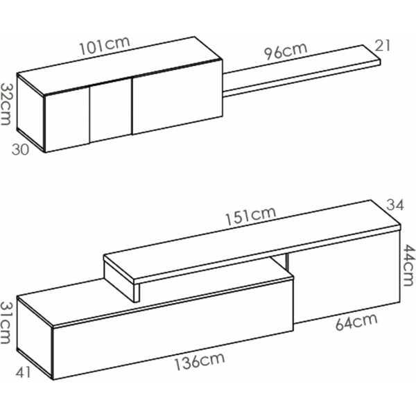 salon tv compacto blanco brillo 11