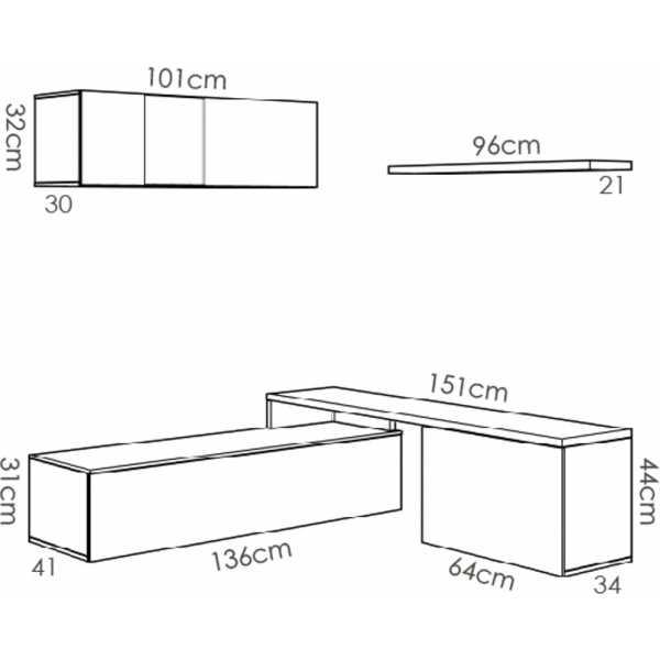 salon tv compacto blanco brillo 12