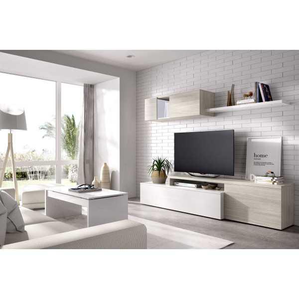 salon tv compacto blanco brillo 3