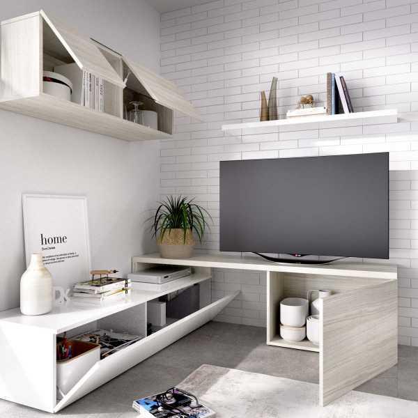 salon tv compacto blanco brillo 4