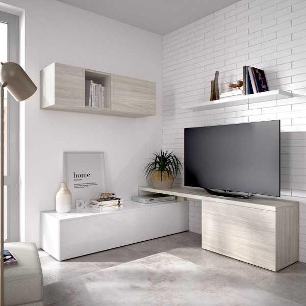 salon tv compacto blanco brillo 5