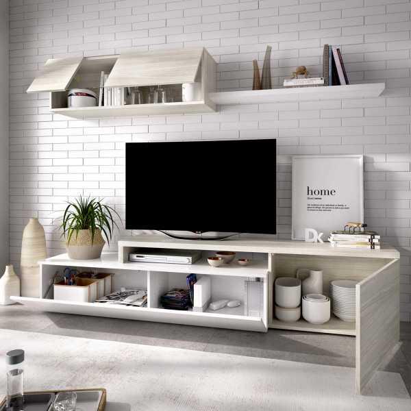salon tv compacto blanco brillo