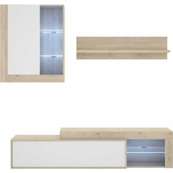 salon tv con leds con puertas y estante a pared 1