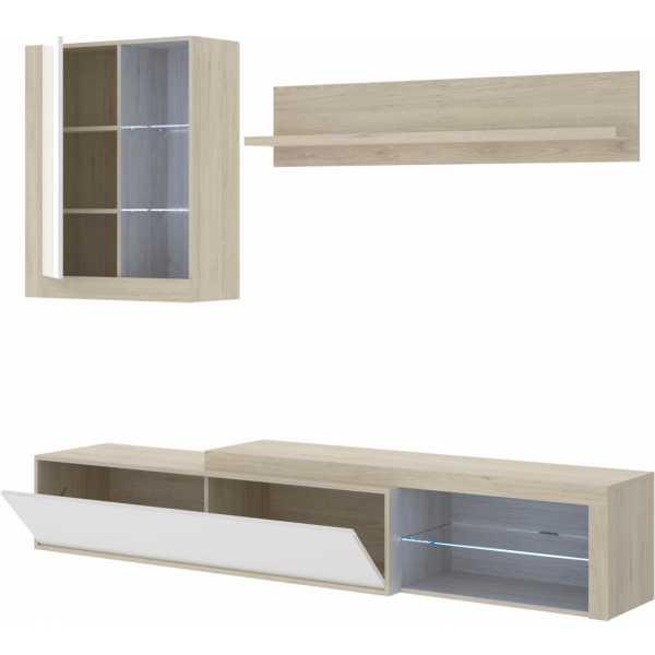 salon tv con leds con puertas y estante a pared 2