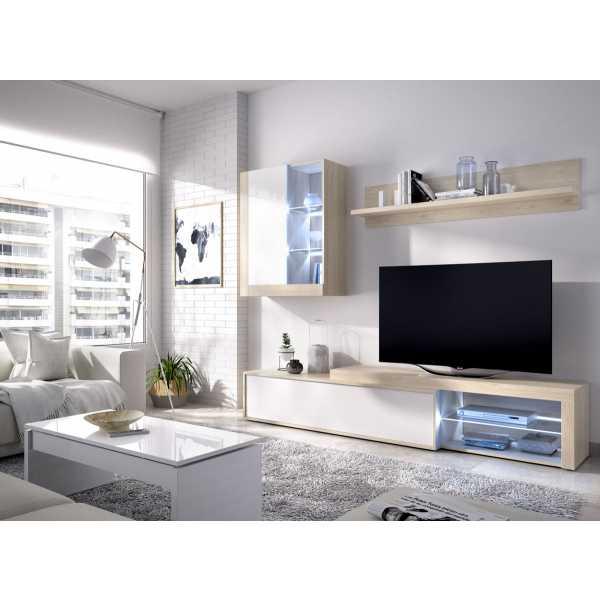 salon tv con leds con puertas y estante a pared 3
