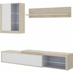 salon tv con leds con puertas y estante a pared