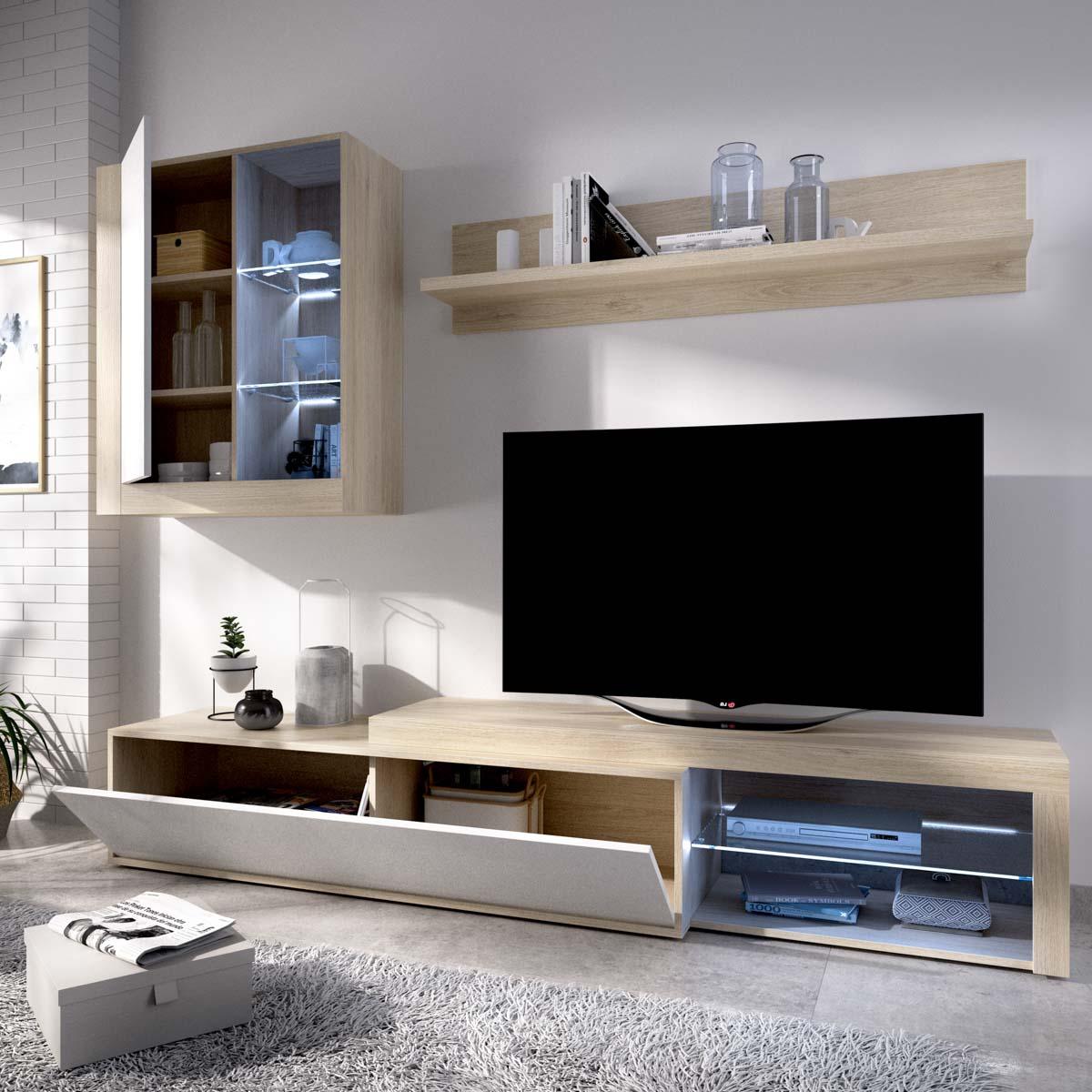 salon tv con leds con puertas y estante a pared 4