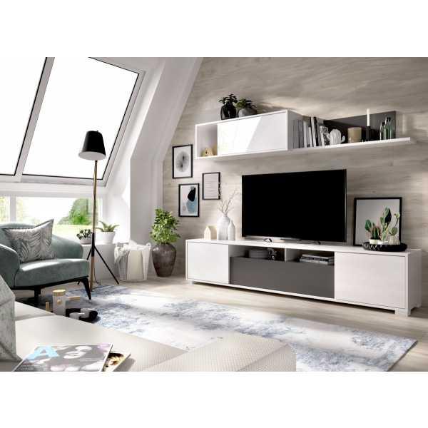 salon tv con puertas y estante a pared 10