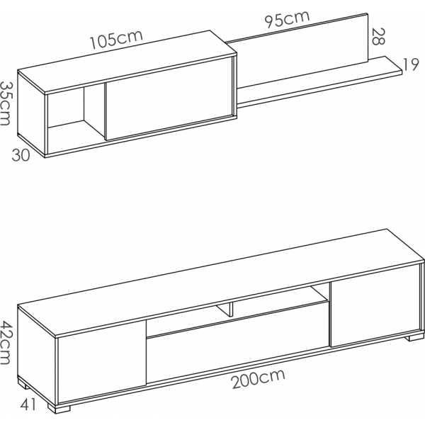salon tv con puertas y estante a pared 12