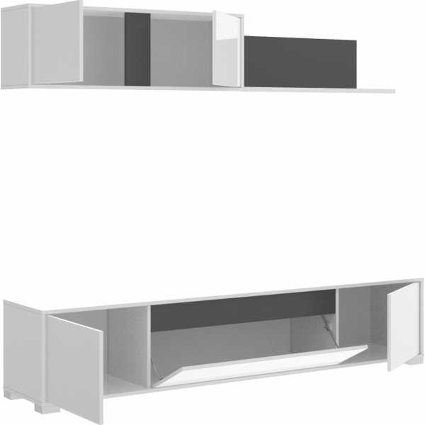 salon tv con puertas y estante a pared 2