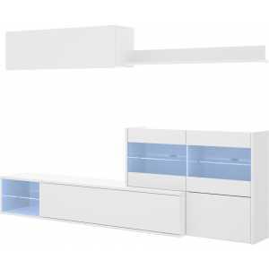 salon tv con vitrina y leds 12