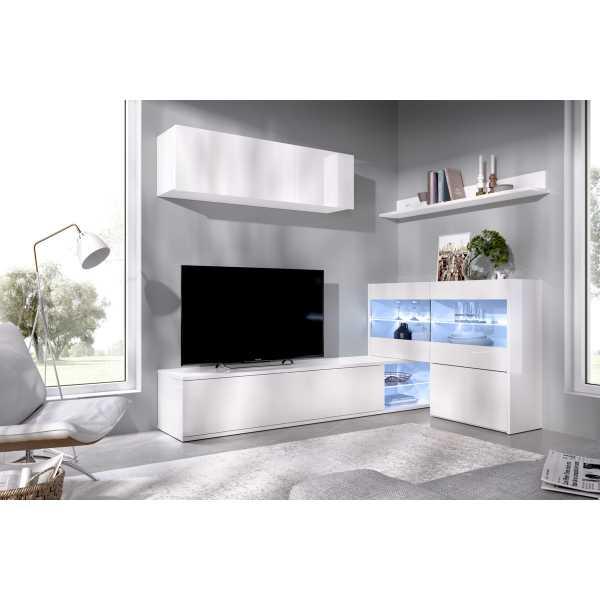 salon tv con vitrina y leds 2