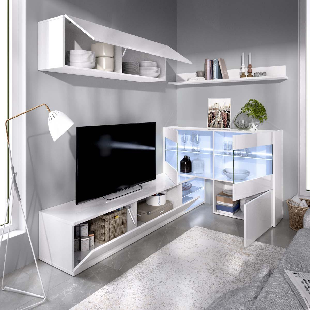 salon tv con vitrina y leds 3