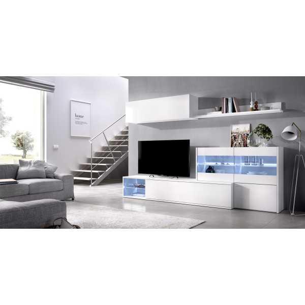 salon tv con vitrina y leds 4