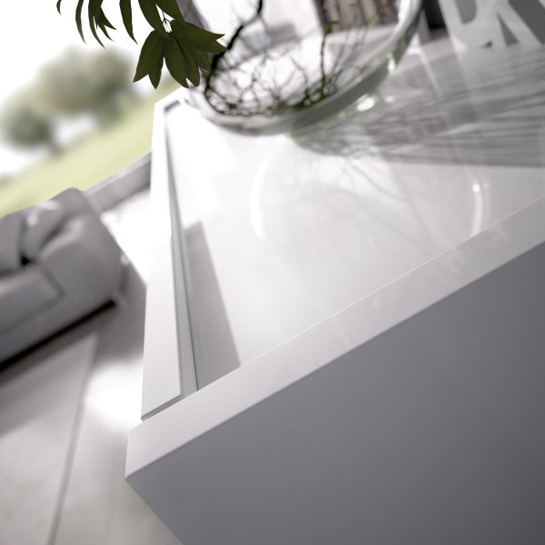salon tv con vitrina y leds 5