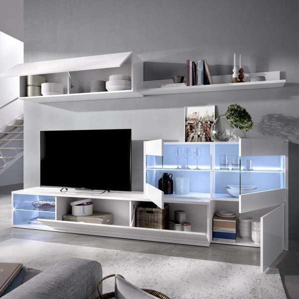 salon tv con vitrina y leds 8