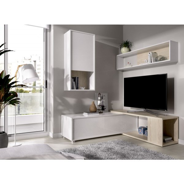 salon tv flexible blanco brillo 1