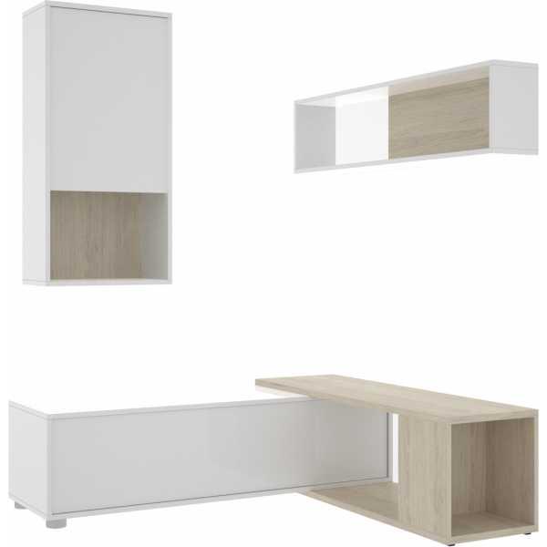 salon tv flexible blanco brillo 10