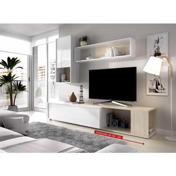 salon tv flexible blanco brillo 12