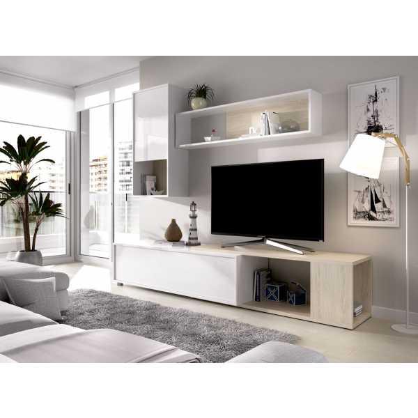 salon tv flexible blanco brillo 13