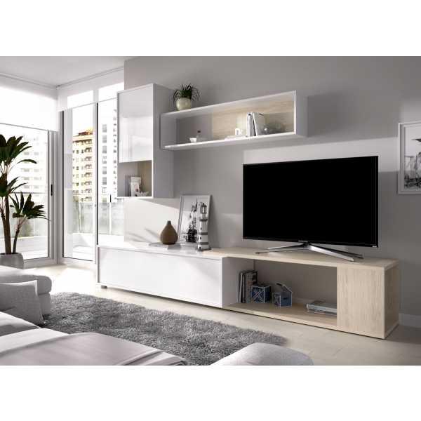 salon tv flexible blanco brillo 3