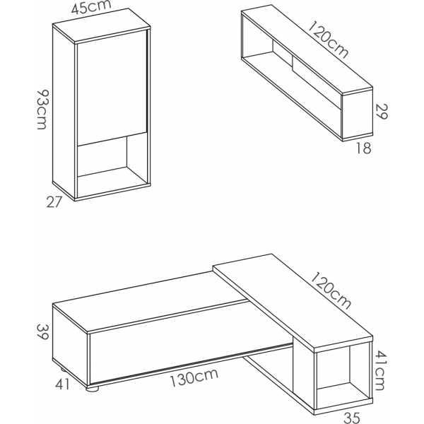 salon tv flexible blanco brillo 6