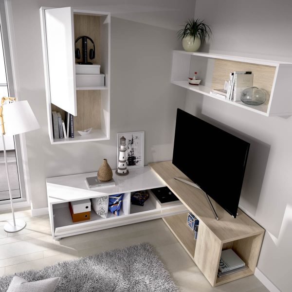 salon tv flexible blanco brillo