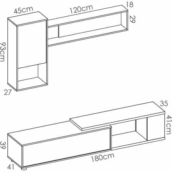 salon tv flexible blanco brillo 8