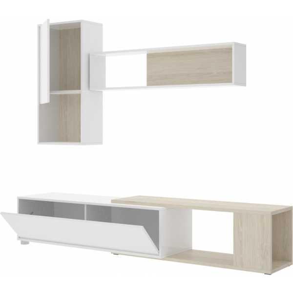 salon tv flexible blanco brillo 9