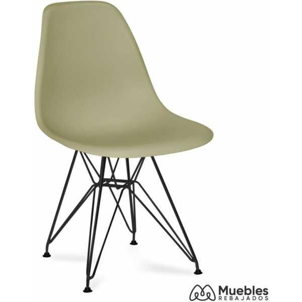 silla patas negras asiento caqui