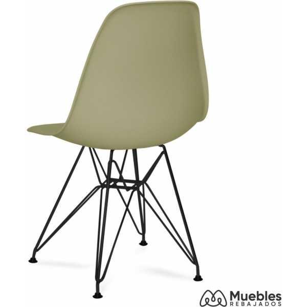 silla patas negras metal asiento plastico caqui