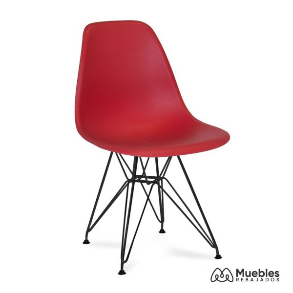 silla roja pvc patas metalicas negras