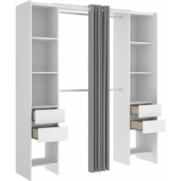 vestidor blanco con 4 cajones y cortina 1