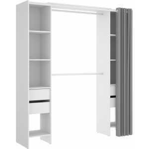 vestidor blanco con 4 cajones y cortina 2