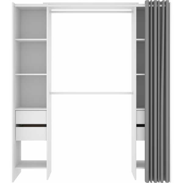 vestidor blanco con 4 cajones y cortina 3
