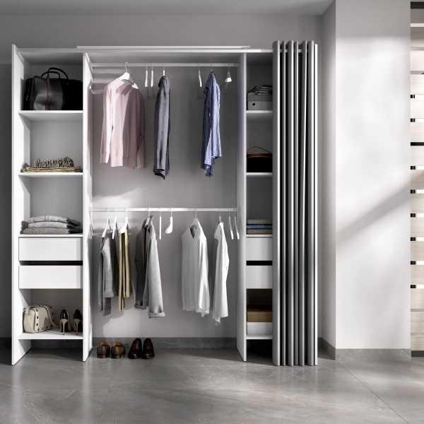 vestidor blanco con 4 cajones y cortina
