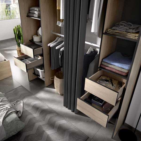 vestidor con 4 cajones y cortina 4