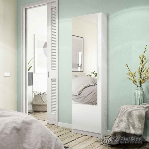zapatero alto blanco con espejo moderno 007864a