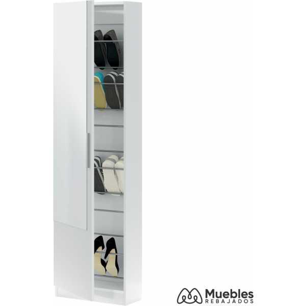 zapatero alto blanco con espejo mueble 007864a